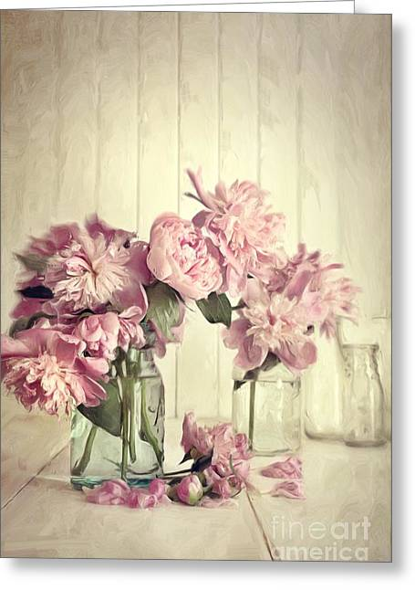 Surprise Greeting Cards - Painting of pink peonies in glass jar/Digital painting   Greeting Card by Sandra Cunningham