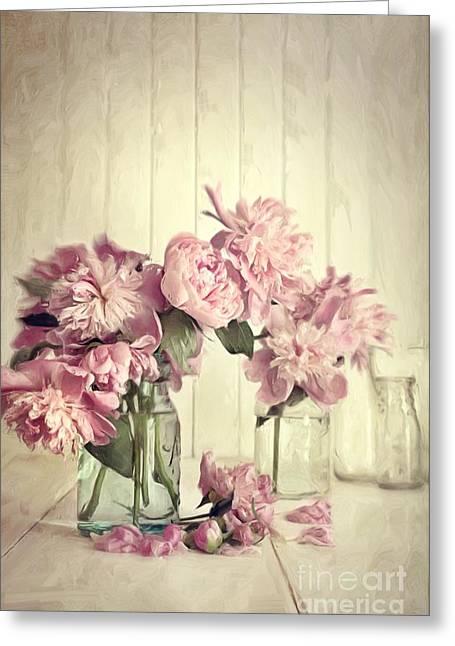 Cream Flowers Greeting Cards - Painting of pink peonies in glass jar/Digital painting   Greeting Card by Sandra Cunningham