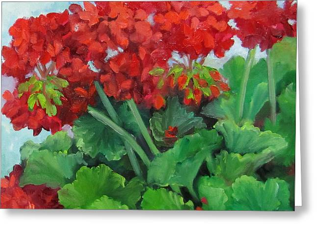Red Geraniums Paintings Greeting Cards - Painting of Red Geraniums Greeting Card by Cheri Wollenberg