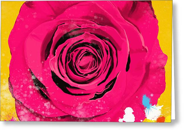 Droplet Greeting Cards - Painting Of Single Rose Greeting Card by Setsiri Silapasuwanchai