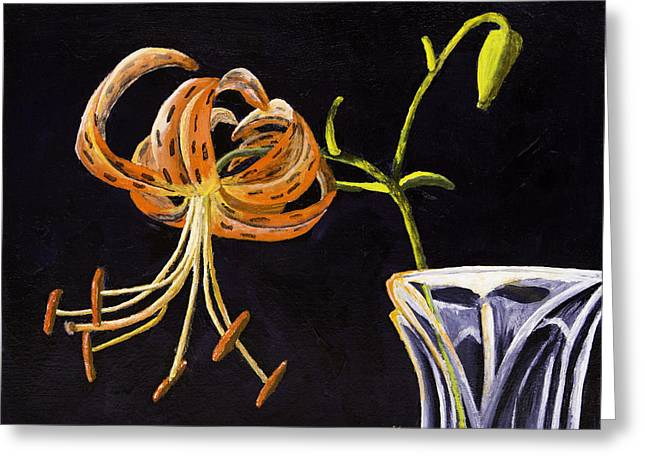 Background Paintings Greeting Cards - Painting of Tiger Lily on Dark Background Greeting Card by Keith Webber Jr