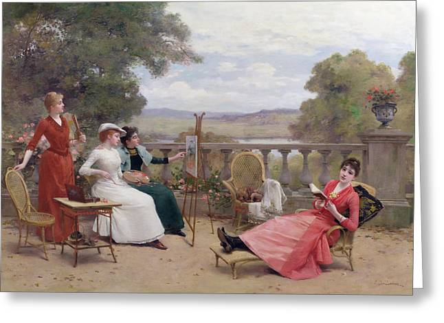 1901 Greeting Cards - Painting on the Terrace Greeting Card by Jules Frederic Ballavoine