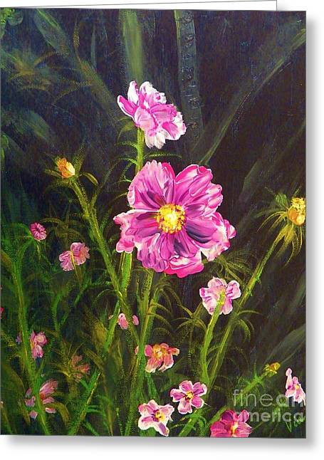 Judy Via-wolff Greeting Cards - Painting Pink Streaked Cosmos Greeting Card by Judy Via-Wolff