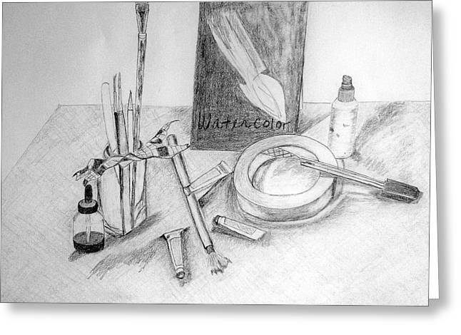 Water Jars Drawings Greeting Cards - Painting Supplies Greeting Card by Jamie Frier