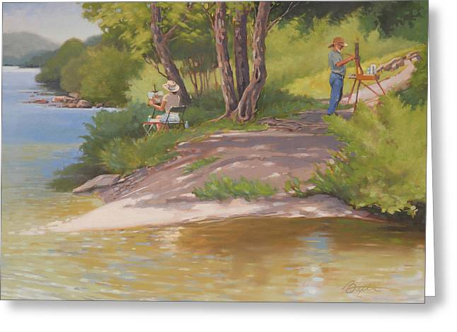 Tennessee River Paintings Greeting Cards - Painting The River Greeting Card by Todd Baxter