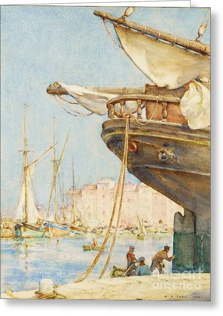 Repaired Paintings Greeting Cards - Painting The Rudder Greeting Card by Pg Reproductions