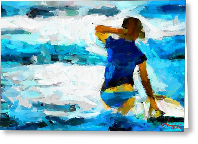 Vincent Dinovici Greeting Cards - Painting with a surfer TNM Greeting Card by Vincent DiNovici