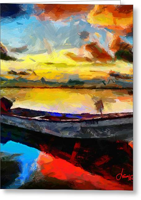 Vincent Dinovici Greeting Cards - Painting with boat at sunrise TNM Greeting Card by Vincent DiNovici