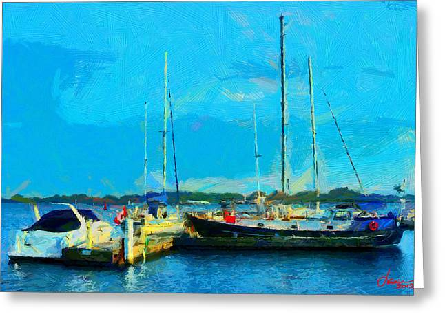 Vincent Dinovici Greeting Cards - Painting with Boats at Harbourfont Toronto TNM Greeting Card by Vincent DiNovici