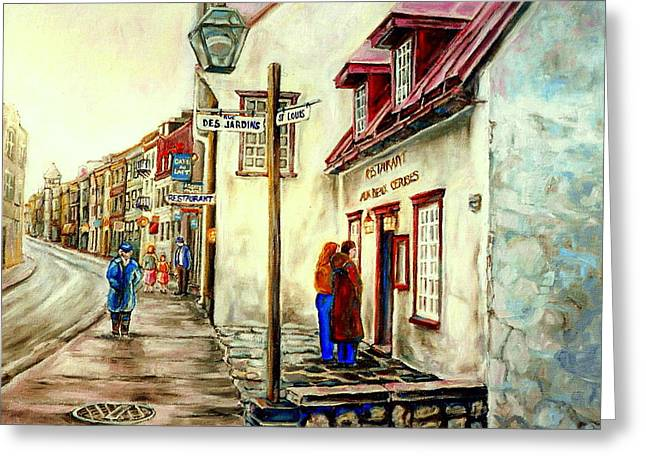 Quebec Streets Paintings Greeting Cards - Paintings Of Quebec Landmarks Aux Anciens Canadiens Restaurant Rainy Morning October City Scene  Greeting Card by Carole Spandau