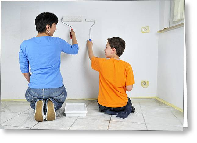 Cooperation Greeting Cards - Paintwork - mother and son painting wall together Greeting Card by Matthias Hauser