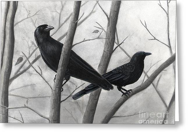 Pair Of Crows Greeting Card by Christian Conner