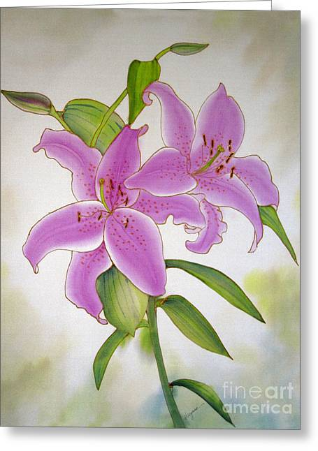 Dyes On Silk Greeting Cards - Pair of Lilies Greeting Card by Addie Hocynec