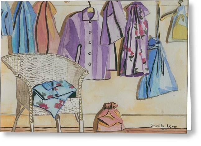 Pajamas Paintings Greeting Cards - Pajamas Greeting Card by Jennifer Dewey