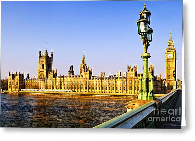 Streetlight Greeting Cards - Palace of Westminster from bridge Greeting Card by Elena Elisseeva