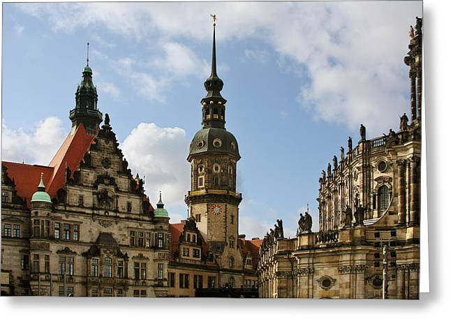 Baroque Greeting Cards - Palace Square in Dresden Greeting Card by Christine Till
