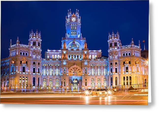 Palacio De Comunicaciones In Madrid Greeting Card by Artur Bogacki