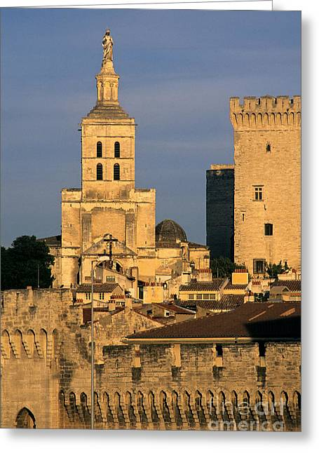 Medieval Style Greeting Cards - Palais des Papes en Avignon. Greeting Card by Bernard Jaubert