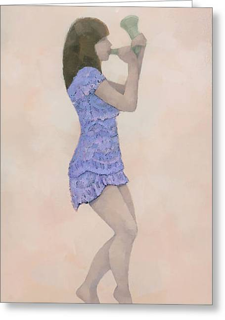 Figurative Tapestries - Textiles Greeting Cards - Palantines Herald Greeting Card by Steve Mitchell