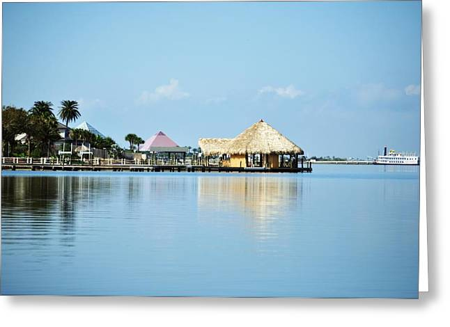 Palapa Over The Bayou Greeting Card by John Collins