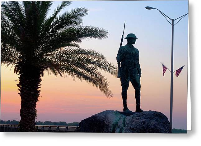 Palatka Doughboy Greeting Cards - Palatka Memorial Bridge Doughboy at Sunset Greeting Card by Angie Bechanan