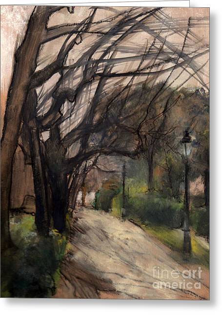 Barcelona Pastels Greeting Cards - Palau Reial Entrance Barcelona Greeting Card by Mar Ramos