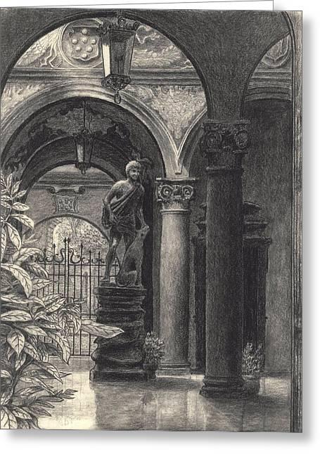 Greek Sculpture Drawings Greeting Cards - Palazzo Medici Riccardi Greeting Card by Norman Bean