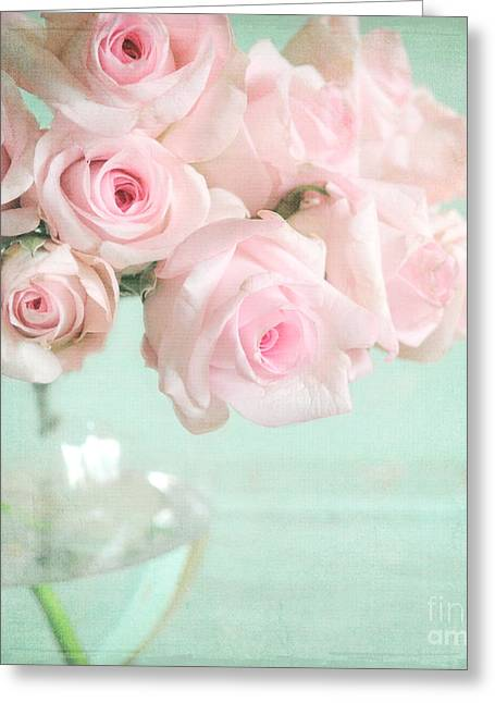 Lyn Randle Greeting Cards - Pale Pink Roses Greeting Card by Lyn Randle