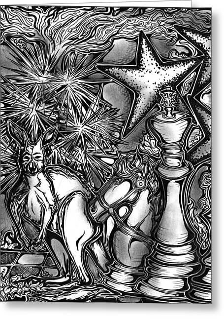Chess Piece Drawings Greeting Cards - Palindrome Nine Greeting Card by Lauren Olinger
