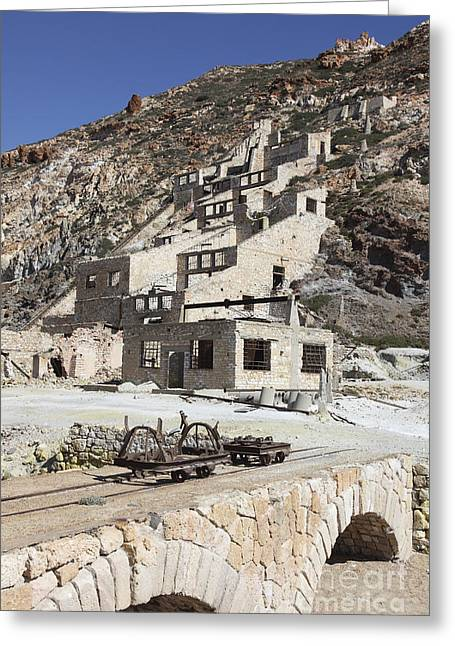 Incline Greeting Cards - Paliorema Sulfur Mine And Processing Greeting Card by Richard Roscoe