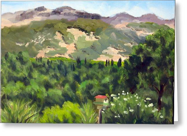 Calistoga Paintings Greeting Cards - Palisades from Lerne Greeting Card by Char Wood