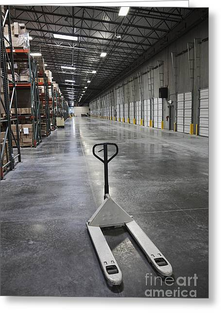 Pallet Jack In A Warehouse Greeting Card by Jetta Productions, Inc