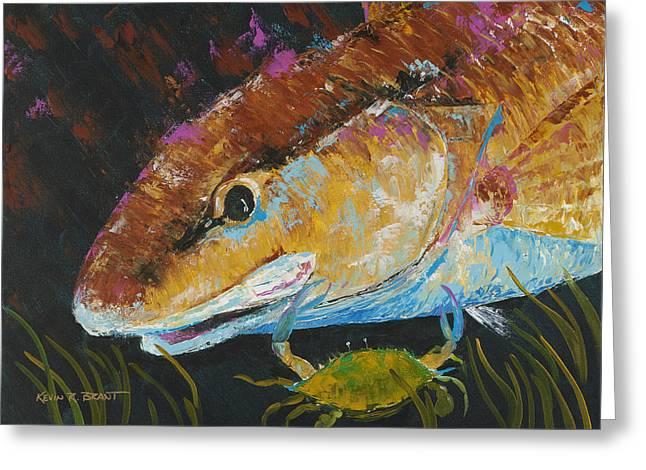 Kevin Brant Greeting Cards - Pallet Knife Redfish and Blue Crab Greeting Card by Kevin Brant