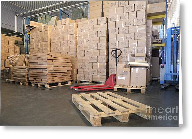 Cardboard Greeting Cards - Pallets and Boxes Greeting Card by Magomed Magomedagaev