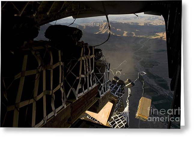 Drop Zone Greeting Cards - Pallets Are Released From A C-17 Greeting Card by Stocktrek Images