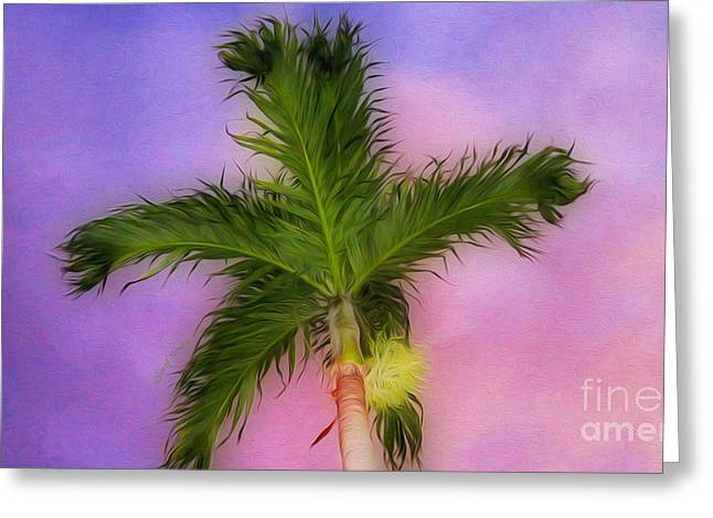 Bathroom Prints Greeting Cards - Palm against Purple sky 2 Greeting Card by Cheryl Young