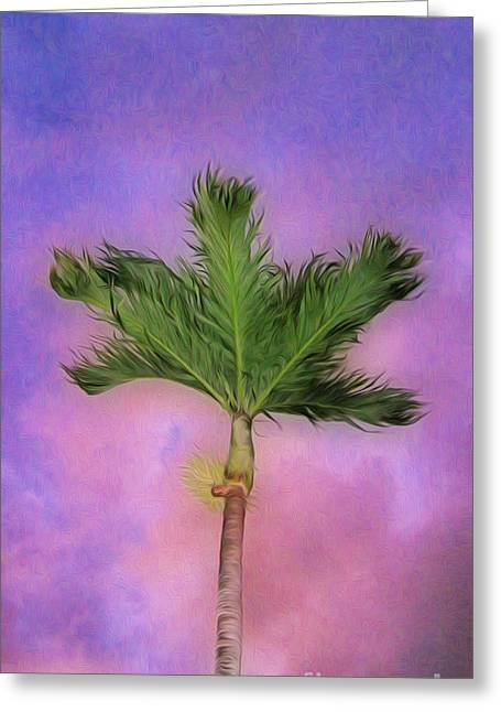 Bathroom Prints Greeting Cards - Palm against purple sky Greeting Card by Cheryl Young