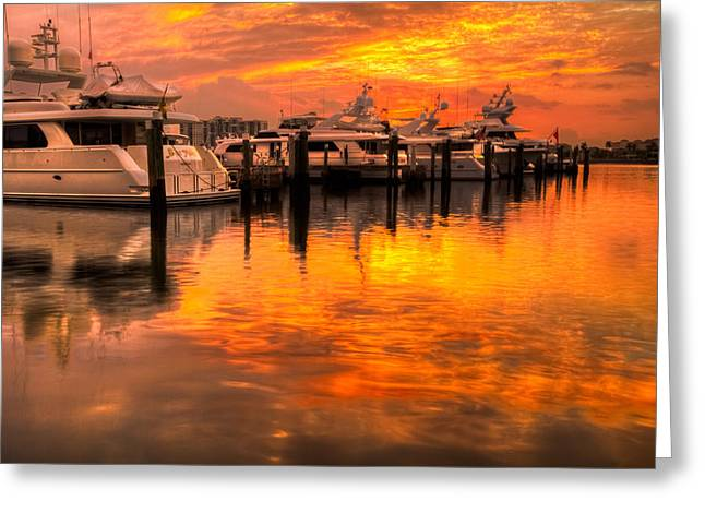 Palm Beach Harbor Glow Greeting Card by Debra and Dave Vanderlaan