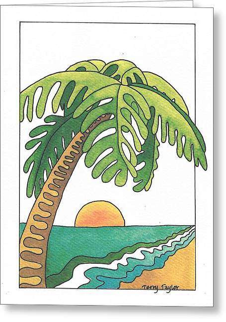 Surfing Art Greeting Cards - Palm Beach Greeting Card by Terry Taylor