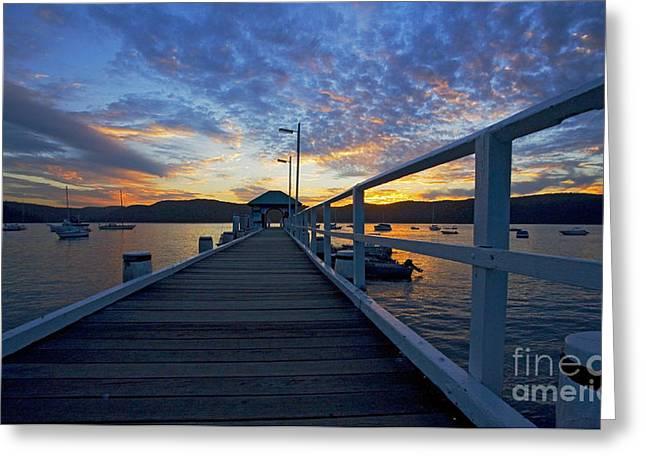 Palm Beach wharf at dusk Greeting Card by Sheila Smart