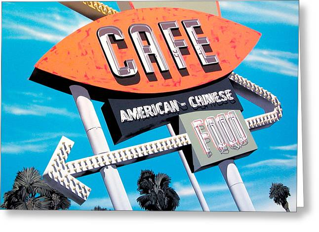 Retro Greeting Cards - Palm Cafe Greeting Card by Anthony Ross