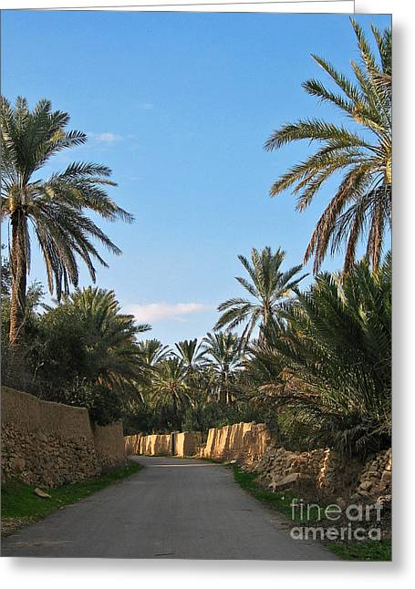 Issam Hajjar Greeting Cards - Palm gardens in Palmyra oasis Greeting Card by Issam Hajjar