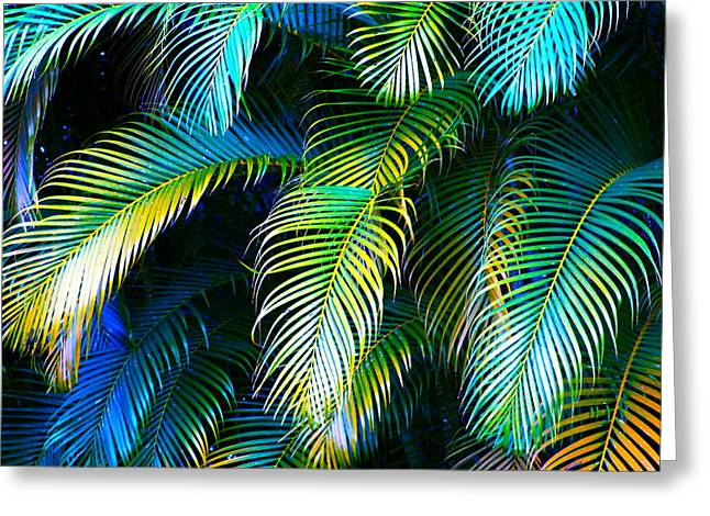 Hawai Greeting Cards - Palm Leaves in Blue Greeting Card by Karon Melillo DeVega