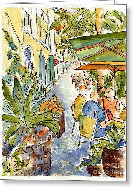 Charlotte Amalie Greeting Cards - Palm Passage Greeting Card by Pat Katz
