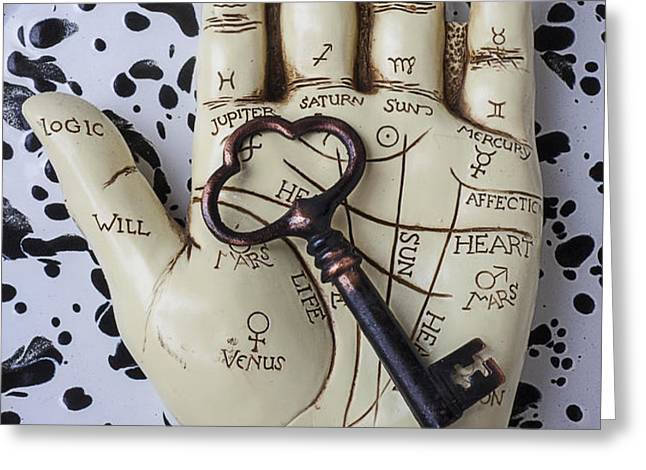 Palm reading hand and key Greeting Card by Garry Gay
