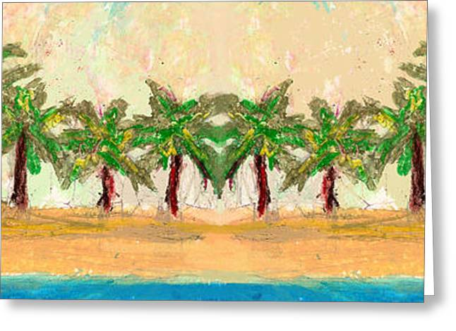 Island Artist Pastels Greeting Cards - Palm Row Greeting Card by William Depaula
