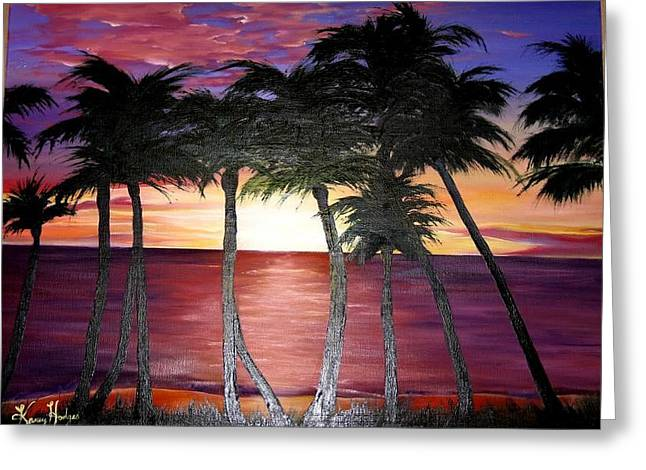 Coss Greeting Cards - Palm Set Greeting Card by Kammy Hodges