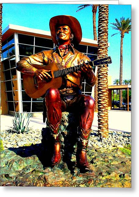 Autry Greeting Cards - Palm Springs Gene Autry Statue Greeting Card by Randall Weidner