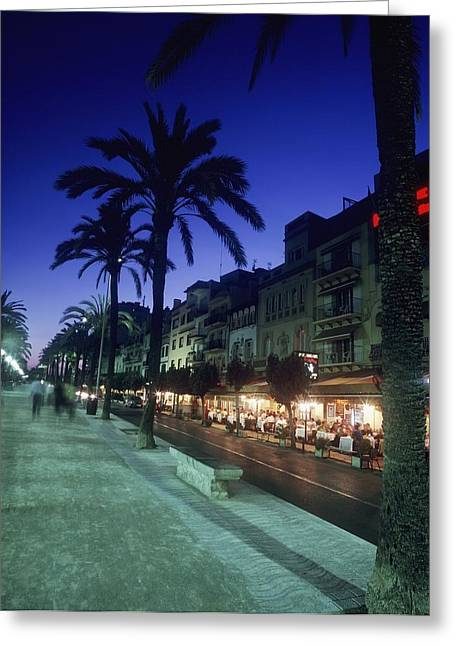 Night Cafe Greeting Cards - Palm Tree Lined Promenade With People Greeting Card by Axiom Photographic