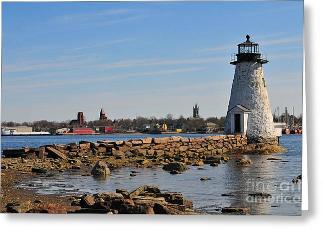 Catherine Reusch Daley Fine Artist Greeting Cards - Palmers island Light Greeting Card by Catherine Reusch  Daley